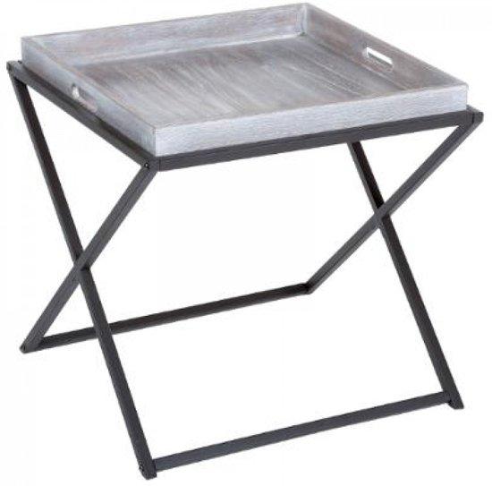 Bijzettafel | Salontafel | met los dienblad | Vierkant |Grijs | Bruin| Grey wash | Metalen poten | L48xB48xH47,5 cm