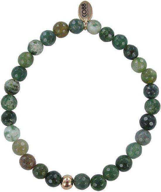 CO88 Collection  8CB-17010 - Natuurstenen - Armband met stalen elementen - Rosékleurig en groen