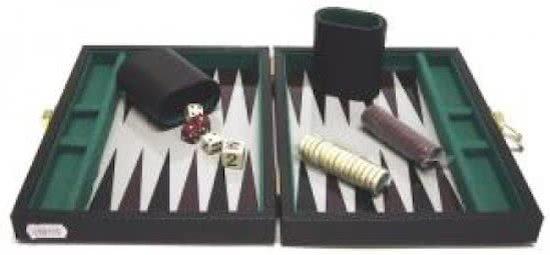 Backgammonkoffer magnetisch zwart 23x17 cm