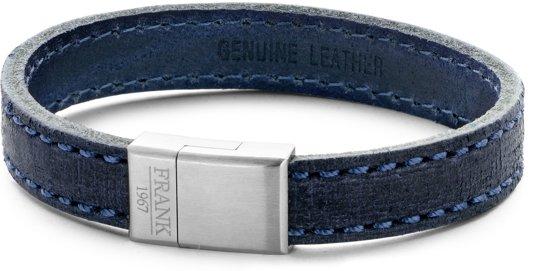 Frank 1967 7FB-0204 - Heren armband met staal element - leer - lengte 21 cm - blauw