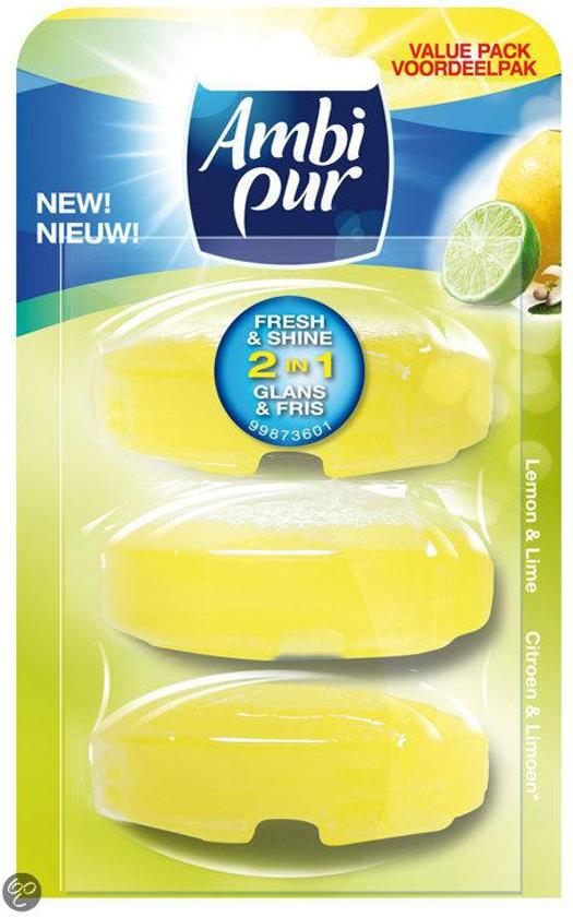Ambi Pur Lemon & Lime - Navulling 3 x 55 ml - Toiletblok