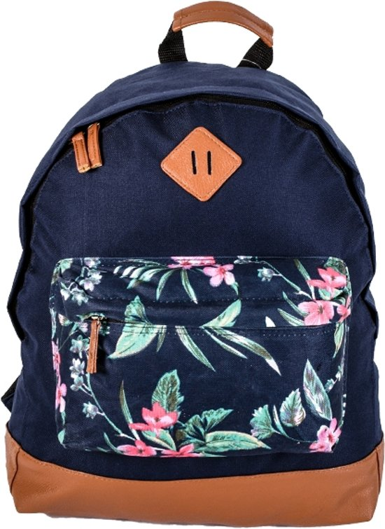 Borderline TROPICAL FLOWERS Rugzak Rugtas School Werk Tas Blauw