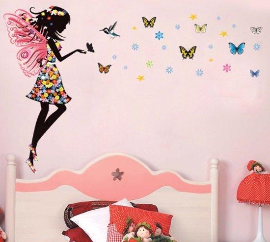 Muursticker meisje met vlinders bloemen sterren voor kinder kamer slaapkamer - Kleur van kamer voor meisje ...