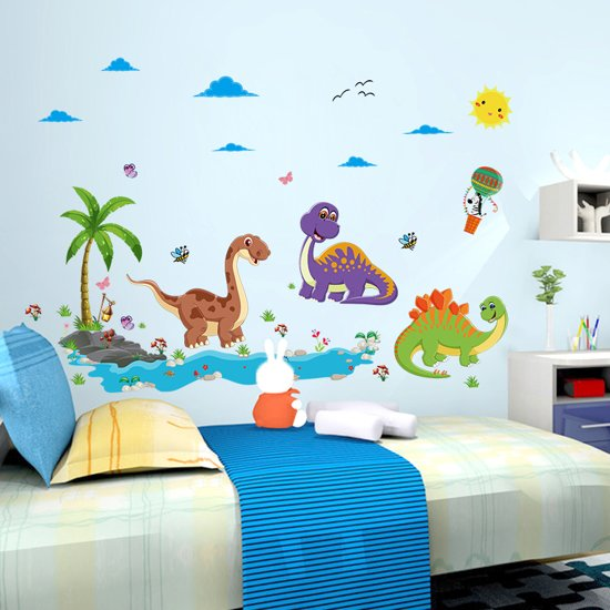 Babykamer Muur Accessoires.Bol Com Vrolijke Dinosaurussen Sticker Voor Op De Muur Of Glas