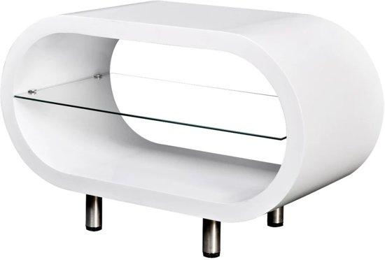 Bol vidaxl salontafel met glazen schap hoogglans wit