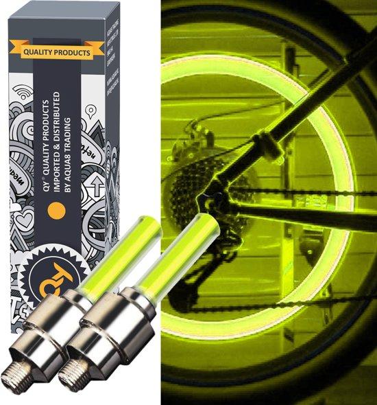 qy led fietswiel lampje ventielbevestiging set van 2 geel