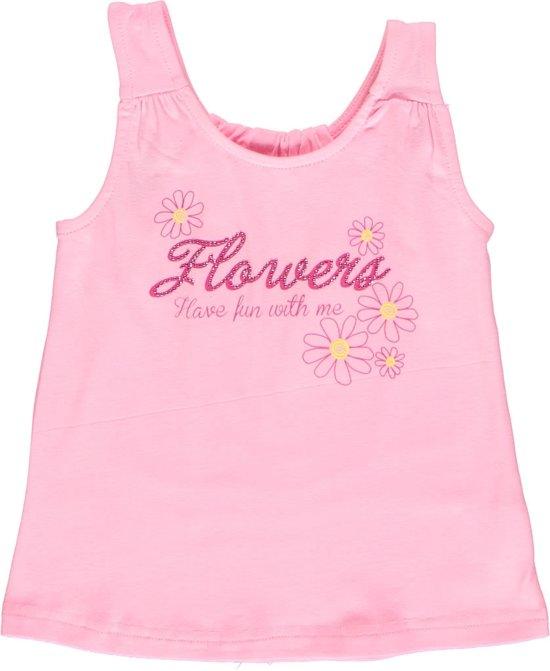 Losan meisjeskleding-roze hemd met - Print en steentjes - p86 - Maat 92