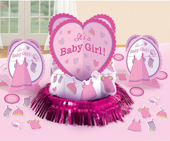 Table Decoration Kit Shower With Love - Girl 23 Pieces