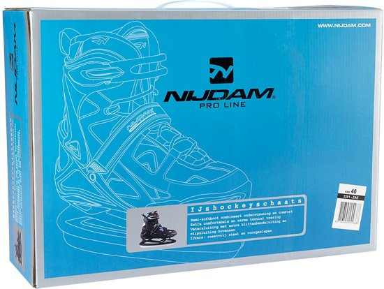 Nijdam 3381 Pro Line IJshockeyschaats - Schaatsen - Mannen - Zwart - Maat 37