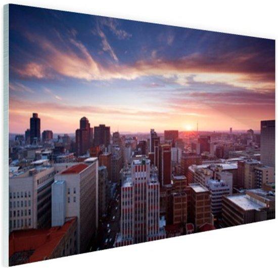 Zonsondergang over Johannesburg Glas 120x80 cm - Foto print op Glas (Plexiglas wanddecoratie)