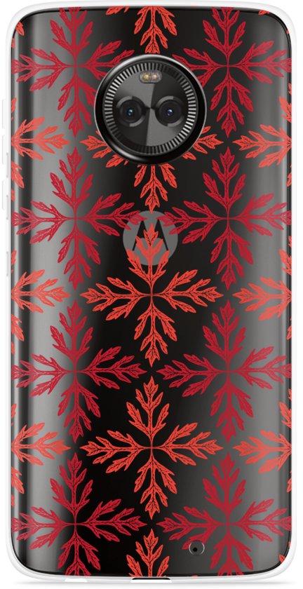 Motorola Moto X4 Hoesje Red Leaves Pattern