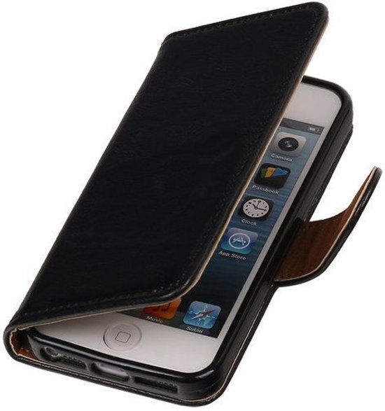 19571474664 MP Case Zwart vintage lederlook bookcase voor de Apple iPhone 5 5S SE  wallet hoesje flip