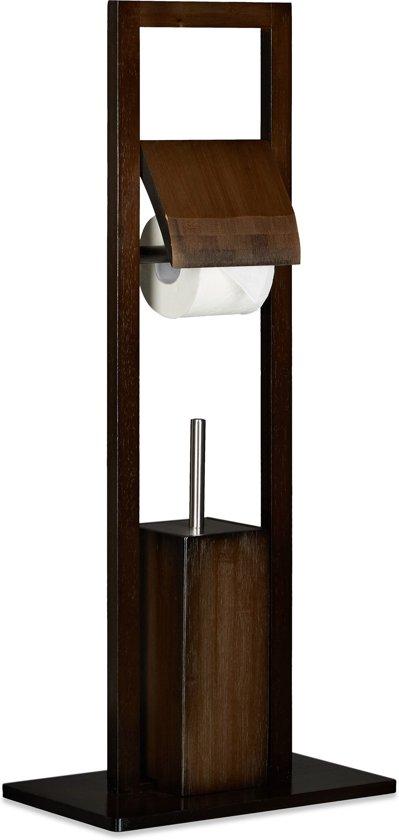 Wc Borstel En Toiletrolhouder.Relaxdays Vrijstaande Toiletaccessoireset Bamboe Toiletrolhouder Wc Borstel Bruin