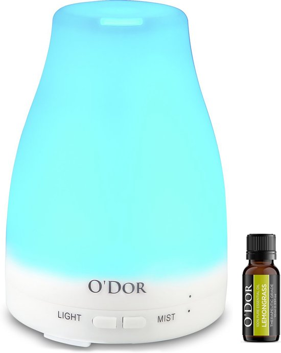 O'dor® Aroma Diffuser 120ml met EXTRA Lemongrass Olie Etherische Olie Verdamper Vernevelaar en Luchtbevochtiger met sfeervolle LED verlichting