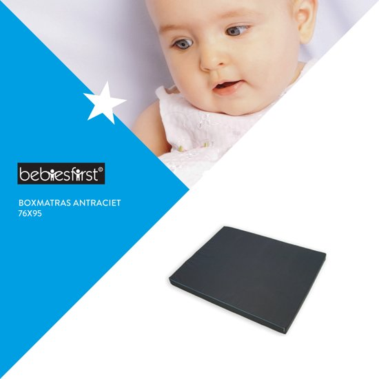 Bebies First - Boxmatras Foam - 76x95 cm - Antraciet