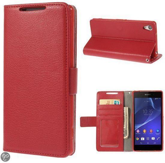 Lychee Wallet Hoesjes Sony Xperia Z2 rood
