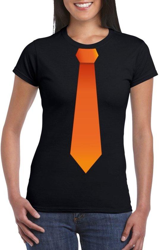 d8ad468fc961ba Zwart t-shirt met oranje stropdas dames - Oranje Koningsdag  Holland  supporter kleding L