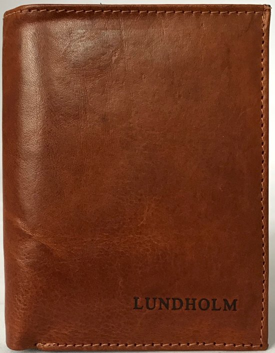 1966657b171 Lundholm - Leren portemonnee billfold - staand model - hoge kwaliteit leer  - Cognac
