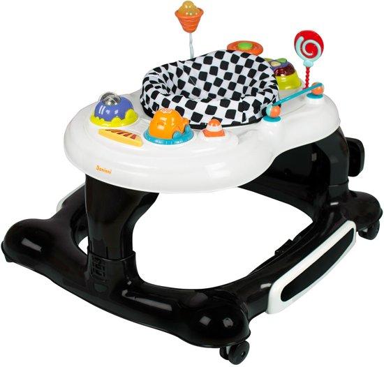 Baninni Loopstoel Presto 3-in-1 - Met schommel & springplankje - Wit-Zwart