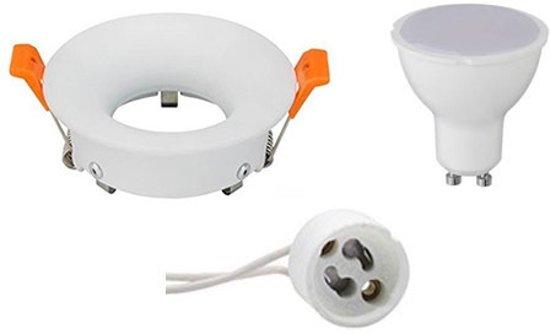 LED Spot Set - GU10 Fitting - Inbouw Rond - Mat Wit - 6W - Helder/Koud Wit 6400K - Ø85mm - BES LED