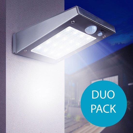 rvs draadloze led solar buiten verlichting maat s met bewegingsmelder duo verpakking