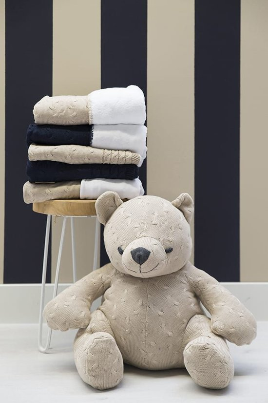 Baby's Only Ledikant Deken Kabel Teddy 135x100 cm - Lichtgrijs