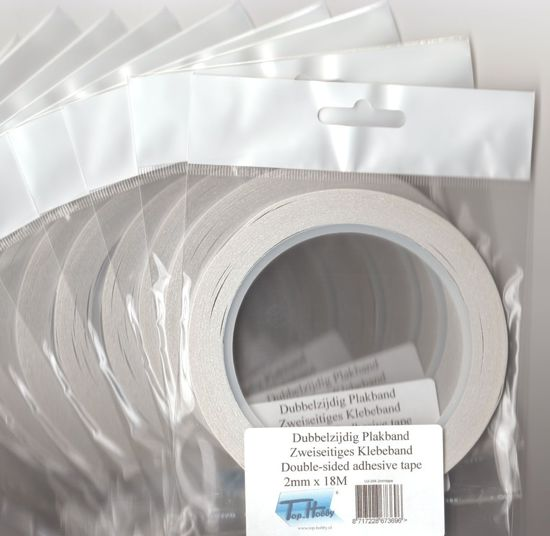 10 Stuks Dubbelzijdig Transparant Plakband - 2mm x 18meter