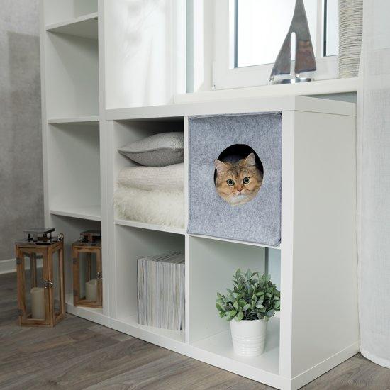 Trixie Relax Iglo Anton Kattenmand - Opvouwbaar - Vilt - Grijs 33 x 33 x 37cm