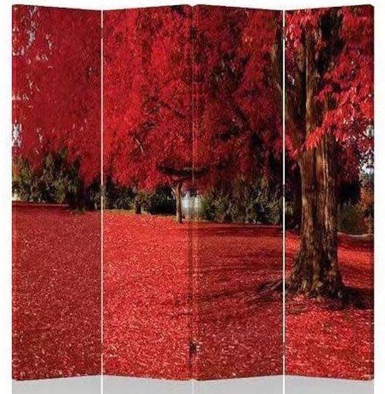 Fine Asianliving Kamerscherm Scheidingswand 4 Panelen Rode Herfst