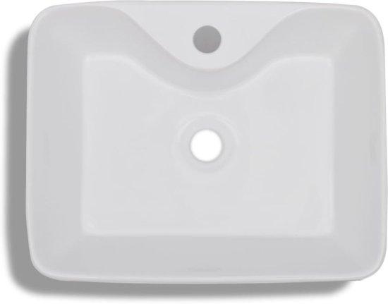 vidaXL Wastafel met kraangat wit vierkant keramiek