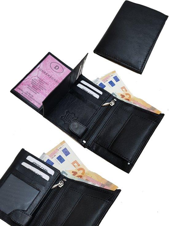 b3a8feec352 Heren Zwart Leren Portemonnee met 19 vakjes voor pasjes kleingeld briefgeld  9 x 12 x 2