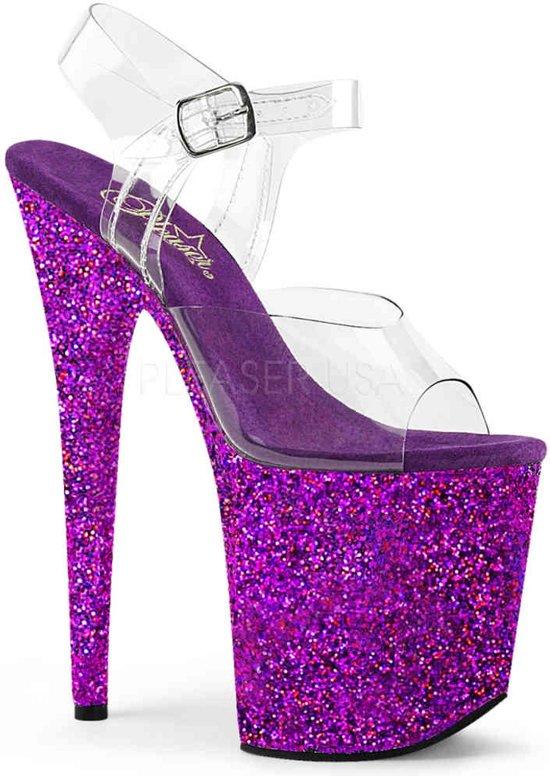 EU 36 = US 6 | FLAMINGO-808LG | 8 Heel, 4 PF Ankle Strap Sandal w/Holographic Glitter Cov