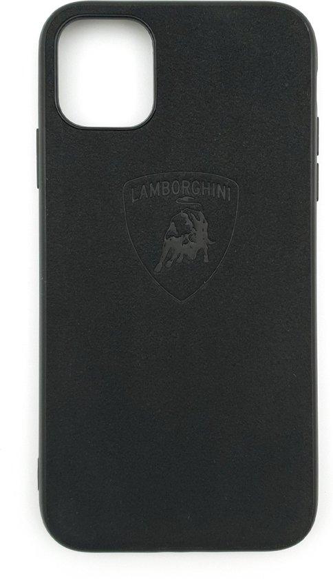 Lamborghini Leather Case geschikt voor Iphone 11 - Zwart Lederen telefoonhoesje