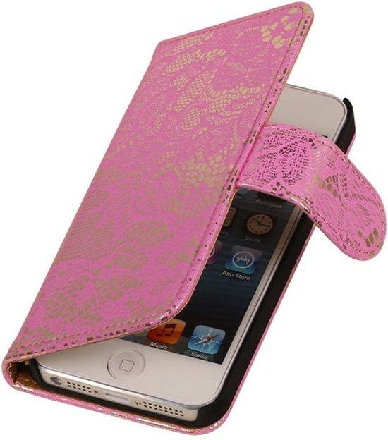 MiniPrijzen - bookcase - bookstyle - Wallet case - Flip case - Book case Bescherm Smartphonehoesje Roze Lace Bloem Apple iPhone 5 5s Hoesje - Smartphone Telefoonhoesje in Nieuw-Vennep