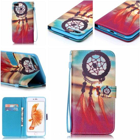iPhone 7 Plus Bookcase Hoesje - Portemonnee Hoesje - Telefoonhoesje - Cover - Bookstyle Hoesje - Booktype Hoesje - Klap Hoesje - Flip Cover - Smartphonehoesje - Wallet Hoesje - Boek Hoesje - Book Case - Portefeuille Hoesje - Case - Bookstyle Case - Hoes - Beschermhoesje - Wallet Case - Dreamcatcher & Sunset in Kloosterveen