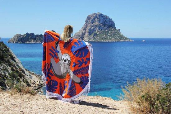 Mycha Ibiza – roundie – rond strandlaken – luiaard – oranje – 100% katoen – franje