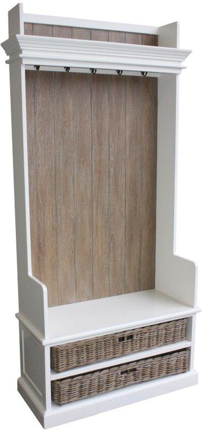Hsm collection garderobemeubel 5 haak 2 mand wit grijsgewassen - Binnenkomst cle voor meubels ...