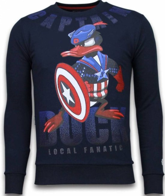 Local Fanatic Captain Duck - Rhinestone Sweater - Navy - Maten: XXL