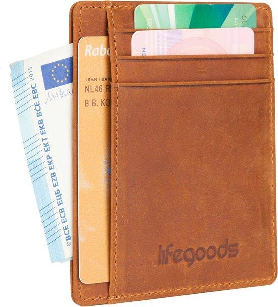 LifeGoods Wallet Minimalistisch - Portemonnee - Portefeuille - Kaart Pas Houder - Creditcard - Bankkaart - Pasjes - Geldclip - RFID Protectie - Leder - Leer - Klein - Dames - Heren - Bruin