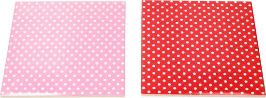 Present Time Onderzetter set van Keramiek – 2 stuks – Designed by BOX32 –  Trivet Met Stippen – Polkadot – Rood, Roze
