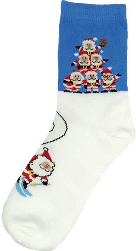 a00854bd8f5 Kerstsokken - Kerstmannen - blauw/wit - maat 35 t/m 39