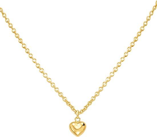 Glow ketting hart 8x10 mm - goud (14 kt) - 42 cm