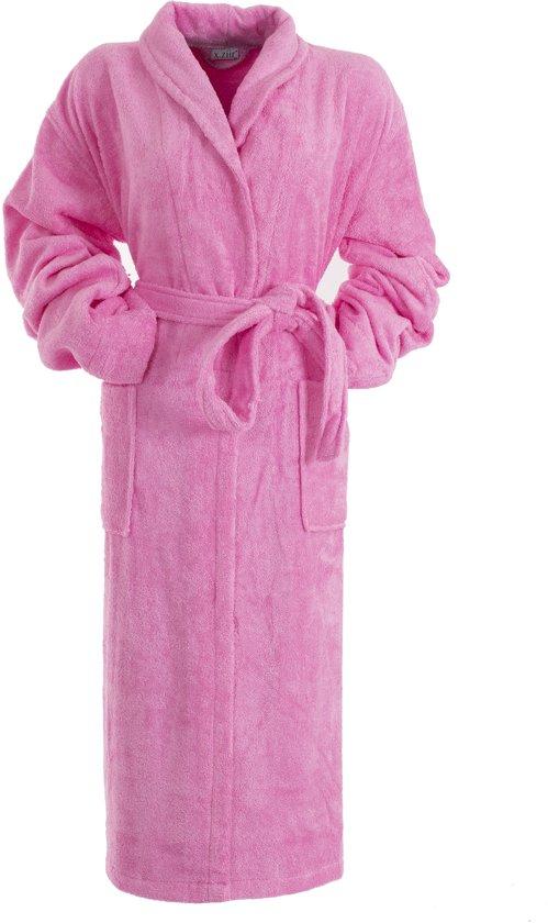83aaea7da47 Bamboe Sauna Badjas Roze XS - dames badjas - badstof badjas - ochtendjas -  duster -sjaalkraag