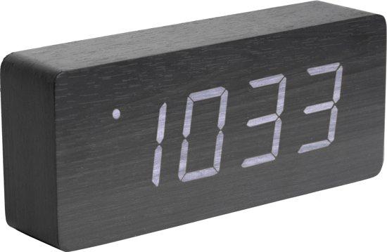 Alarm clock Tube black veneer, white LED