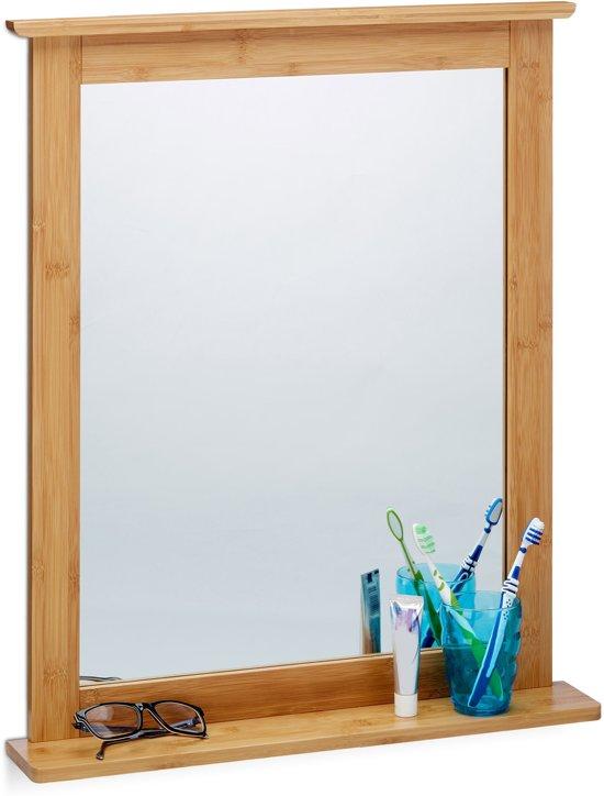 best relaxdays wandspiegel bamboe met plankje spiegel hout