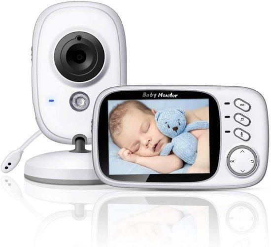 Babyfoon met camera | 3.2 inch babyphone | A-kwaliteit | Groot bereik | Terugspreken | Temperatuur | Slaapliedjes | Nachtzicht | Energiebesparing | Model 2020