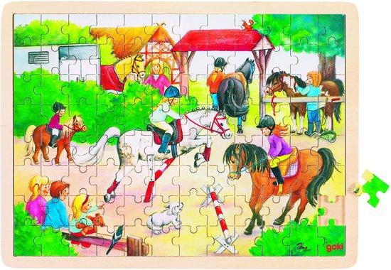 Goki Puzzel: paarden springen 96-delig