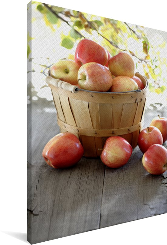 Rode appels puilen uit de mand Canvas 60x90 cm - Foto print op Canvas schilderij (Wanddecoratie woonkamer / slaapkamer)