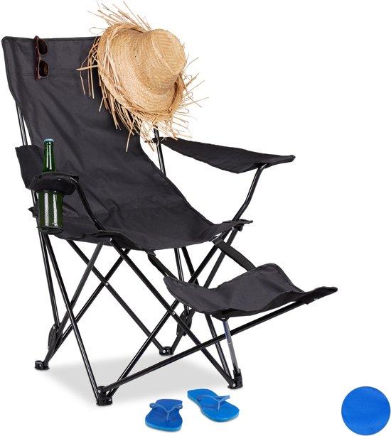 Vouwstoel Met Voetsteun.Relaxdays Campingstoel Opvouwbaar Voetensteun Klapstoel Tuinstoel Strandstoel Zwart