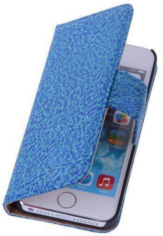 BestCases Antiek Blue Echt Leer Wallet Case Hoesje Apple iPhone 4 4S